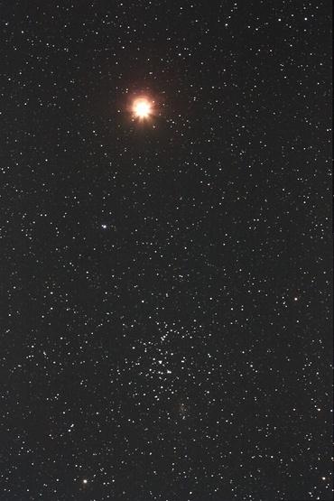 火星とプレセペ星団 2010年2月6日