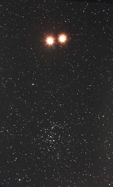 火星とプレセペ星団 2010年2月6日 & 8日
