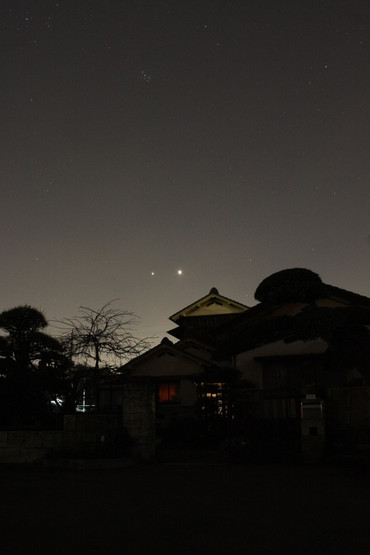 夕空に並ぶ金星と木星 2012年3月13日