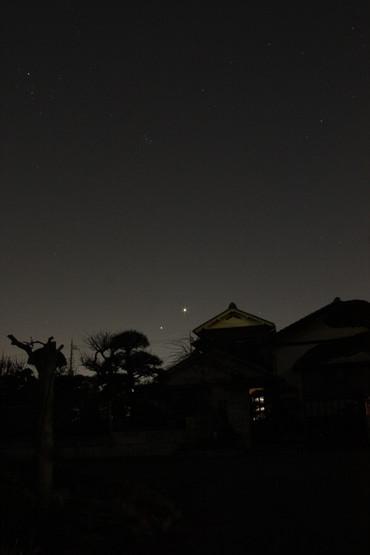 夕空に並ぶ金星と木星 2012年3月15日