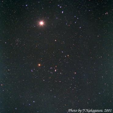 ヒヤデス星団と木星 2000年10月24日