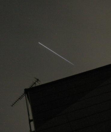 星出さんを乗せたISSの光跡 2008年6月7日