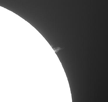 Hαによる太陽像 2009年6月27日(プロミネンスの部分拡大)