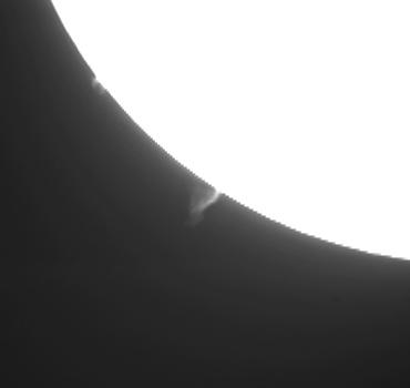 Hαによる太陽像(南東側プロミネンス拡大) 2009年12月4日