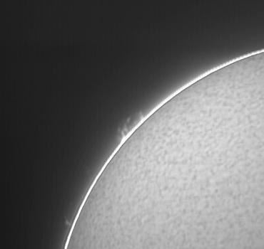 Hαによる太陽像(北東側プロミネンス付近拡大) 2009年12月24日