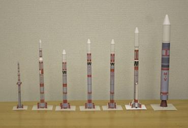 1/100スケールペーパークラフトによる Μシリーズロケット