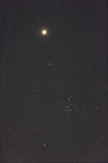 火星とプレセペ星団 2010年2月4日