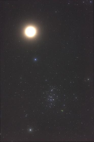 火星とプレセペ星団(ソフトフィルター) 2010年2月4日