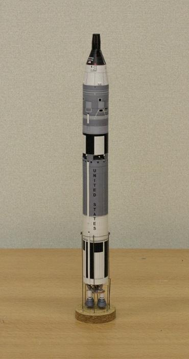 1/100スケールペーパークラフトによる ジェミニ タイタンⅡ