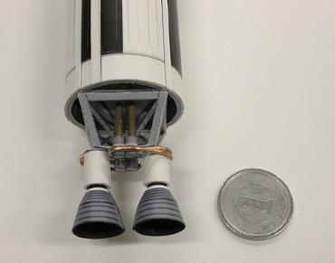 1/100スケールペーパークラフトによる タイタンⅡロケットのエンジン部分