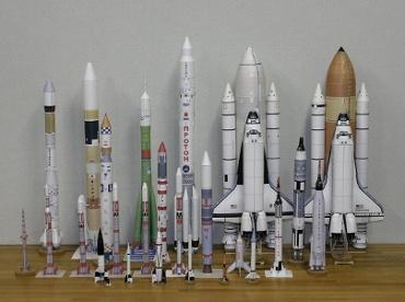 1/100スケールペーパークラフトによるロケットたち 2010年2月9日