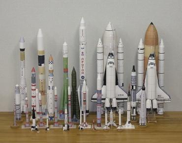 1/100スケールペーパークラフトによるロケットたち 2010年2月25日