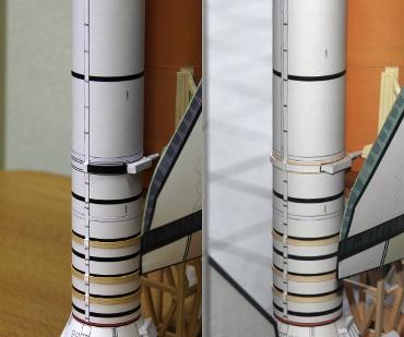 1/100スケールペーパークラフトによる STS-51JとSTS-49のSRBリング付近