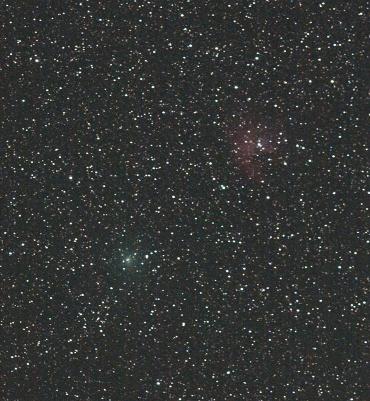 """103P/ハートレイ彗星と""""パックマン星雲"""" 2010年10月3日"""