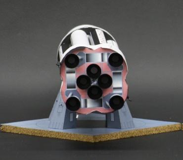 1/100スケールペーパークラフトによる サターン Ⅰ SA-1(底部)
