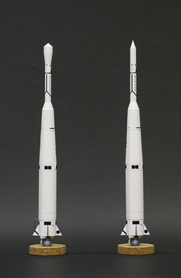 1/100スケールペーパークラフトによる ソー・エイブル Ⅱ と ソー・デルタ 1号機