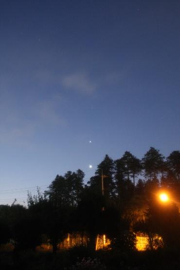 明け方の木星と金星 2012年7月11日 自宅にて