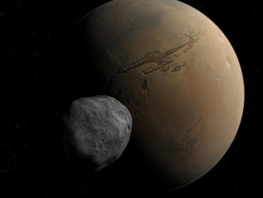 """Celestia""による火星とフォボス"